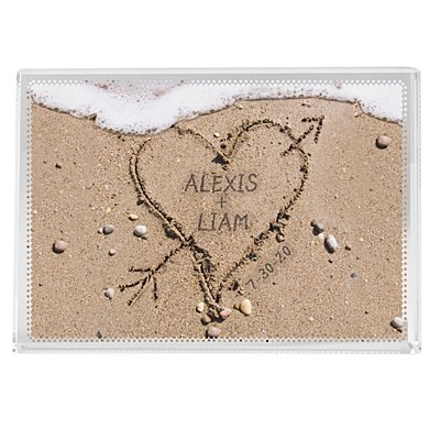 Heart in Sand Glass Block - Small
