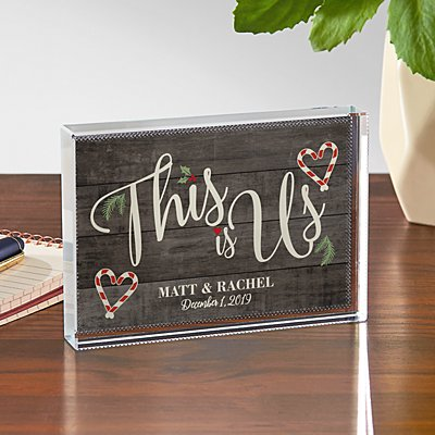 This is Us Holiday Glass Block