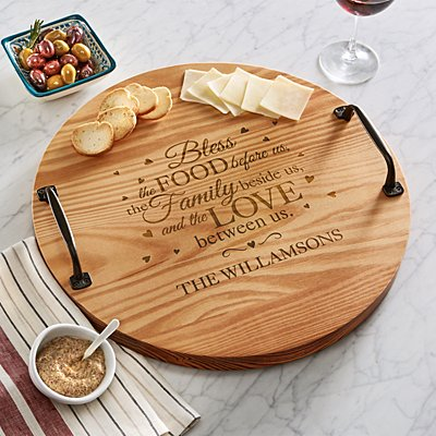 Bless This Food Wooden Tray