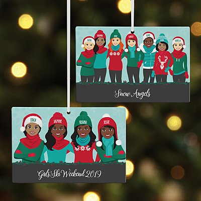 Bundled Up Besties Rectangle Ornament