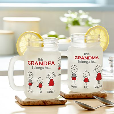 Family Belonging Frosted Mason Jar