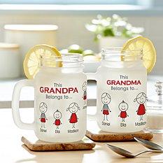 Family Belonging Frosted Mason Jar