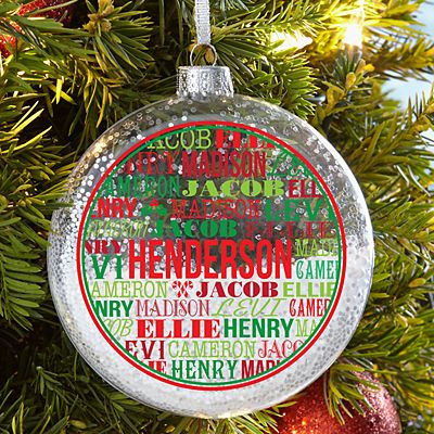 Family Names Glitter Glass Ornament
