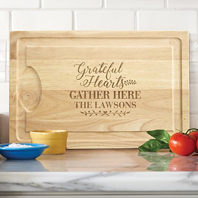 Grateful Hearts Wooden Chopping Board