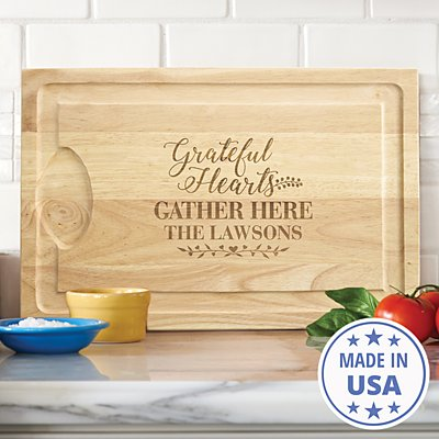 Grateful Hearts Wood Cutting Board
