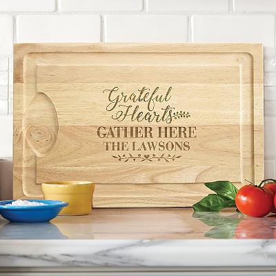 Grateful Hearts Wooden Cutting Board
