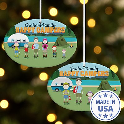 Happy Campers Oval Ornament
