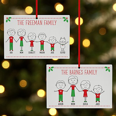 Happy Holidays Family Rectangle Ornament