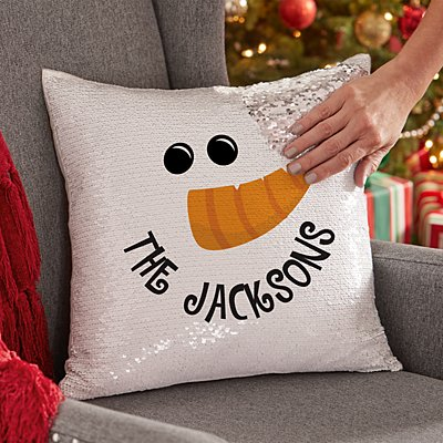 Happy Snowman Sequin Throw Pillow