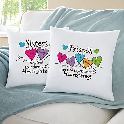Sisters and Friends Heartstrings Throw Pillow