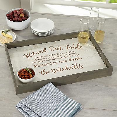 Around Our Table Wood Serving Tray