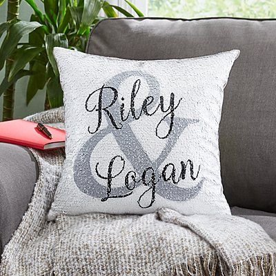 Sequin Celebration of Love Sofa Cushion