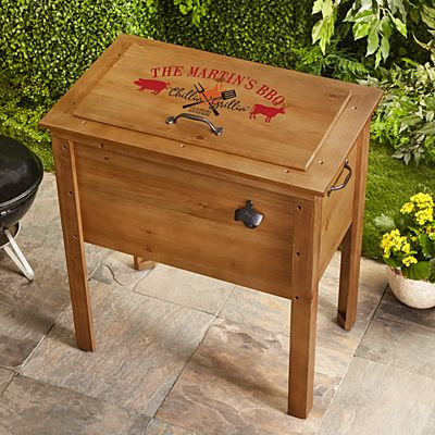 Chillin' & Grillin'  Outdoor Wooden Cooler