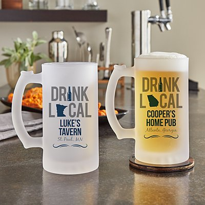 Drink Local Frosted Beer Mug