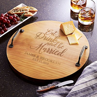 Eat, Drink & Be Married Wood Barrel Tray