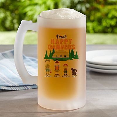 Happy Campers Frosted Beer Mug