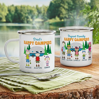 Happy Campers Metal Enamel Mug