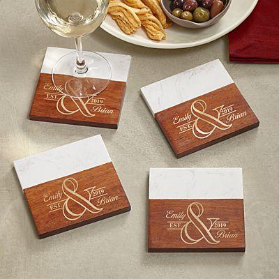 Simple Elegance Marble & Wood Coasters