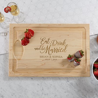 Eat, Drink & Be Married Wood Cutting Board