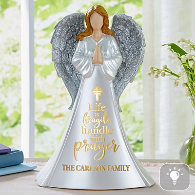 Handle With Prayer Lighted Angel