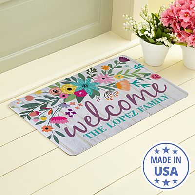 Rainbow Flowers Doormat