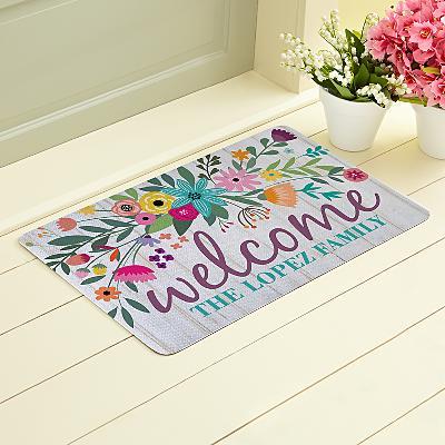 Rainbow Flowers Doormat