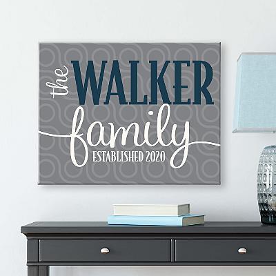 Modern Family Name Canvas