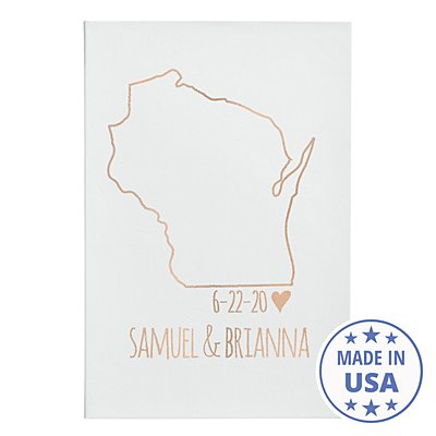 Our Home State Leather Wall Art - White