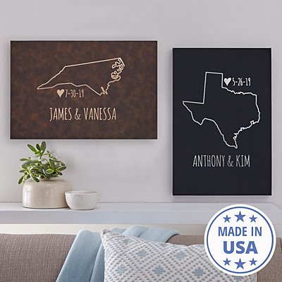 Our Home State Leather Wall Art