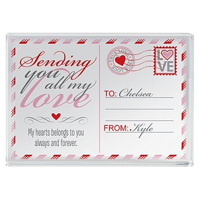 Sending All My Love Glass Block - Small