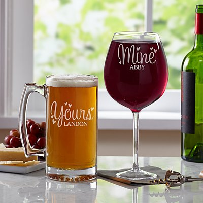 Yours & Mine Wine & Oversized Beer Mug Set