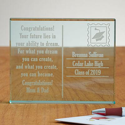 Graduation Postcard Glass Block