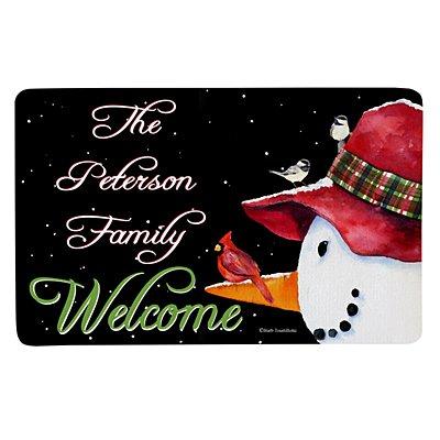 Snowman Cardinal Doormat - 17 x 27
