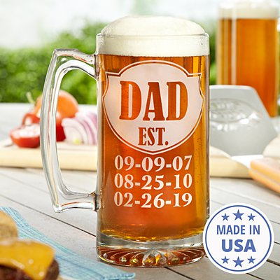 Dad Established Oversized Beer Mug
