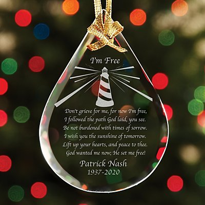 I'm Free Teardrop Glass Ornament