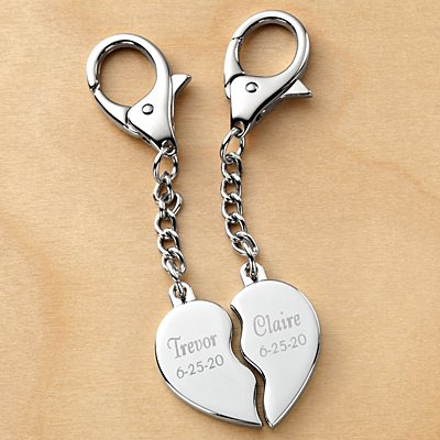 His/Hers Split Heart Keychain