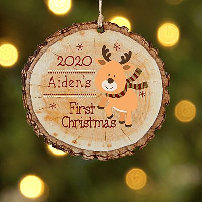 Little Deers First Christmas Wood Ornament