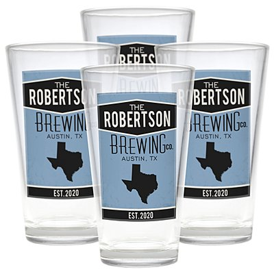 Home State Pint Beer Glasses - Blue - Set of 4