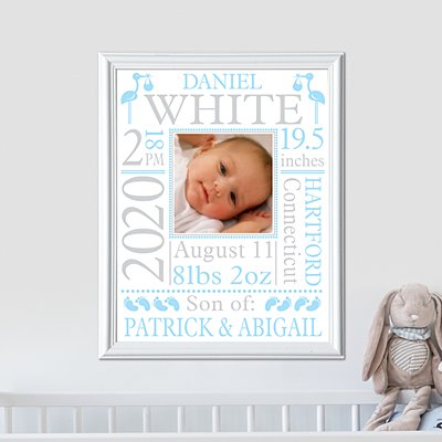 New Baby Photo Announcement Framed Print