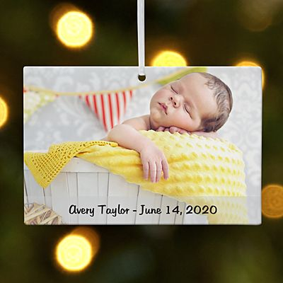Baby Photo Message Rectangle Ornament