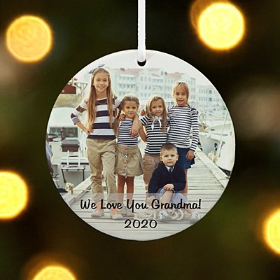 Kids Photo Message Round Ornament