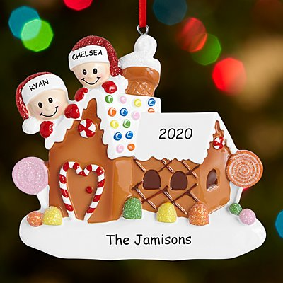 Gingerbread House Couple Ornament
