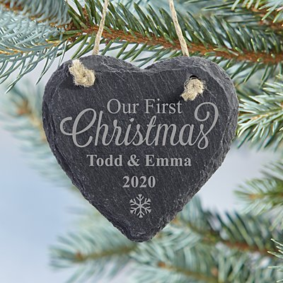 Our First Christmas Heart Slate Ornament