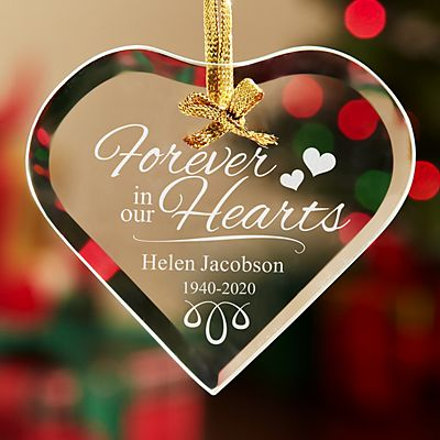 Forever in our Hearts Glass Ornament