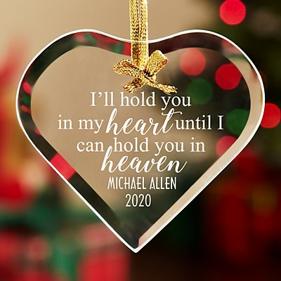 Hold You In My Heart Glass Memorial Ornament