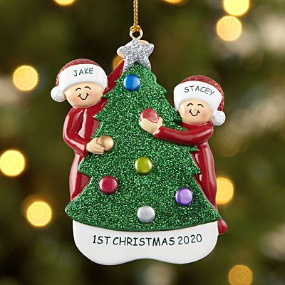 Family Decorating the Tree Couple Ornament