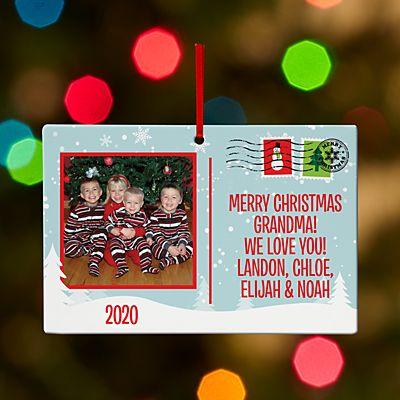Holiday Greetings Photo Postcard Rectangle Ornament