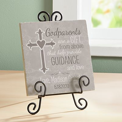 Godparents Tile Cross Keepsake