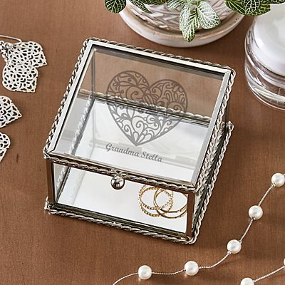 Message on Her Heart Glass Keepsake Box