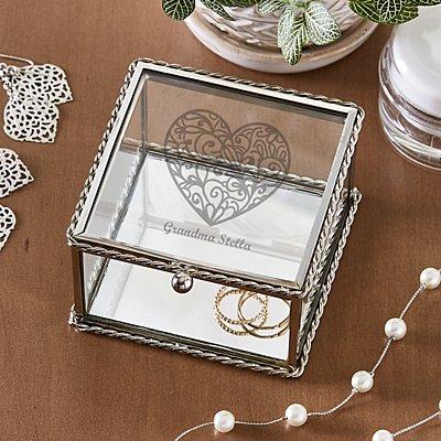 Message on Her Heart Glass Keepsake Box